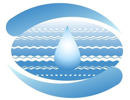 manos logo: Oc�ano y una gota de agua en el planeta tierra. S�mbolo.