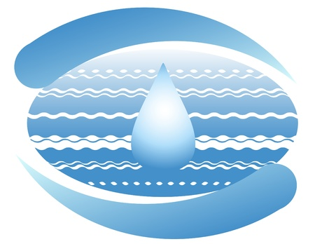 water logo: Ocean and a drop of clean water on the planet earth. Symbol. Illustration