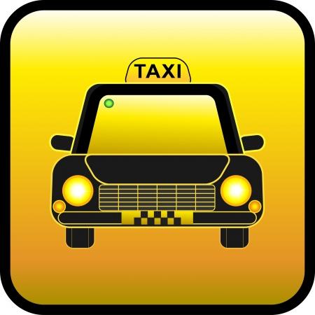 En taxi sobre un fondo amarillo. Botón Restangular. Taxi de botón Ilustración de vector