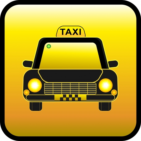 Taxi on a yellow background. Restangular button. Button taxi