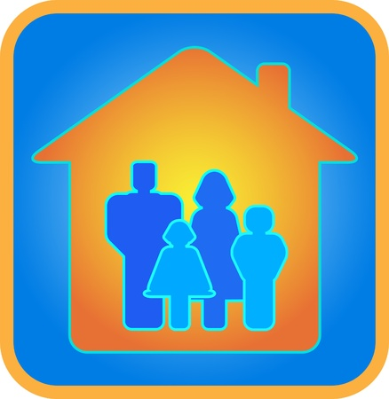 Family in the house. Parents and children. Father, mother, son, daughter. Blue background.