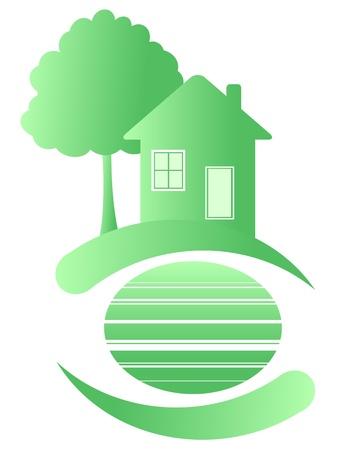 Maison verte sur une planète propre. Écologie.