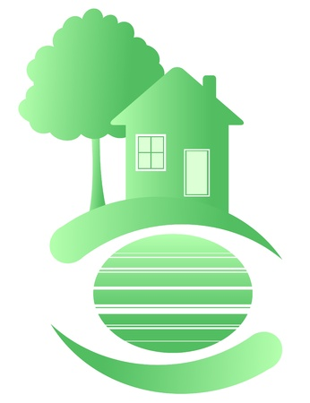 Green house on a clean planet. Ecology. Vector
