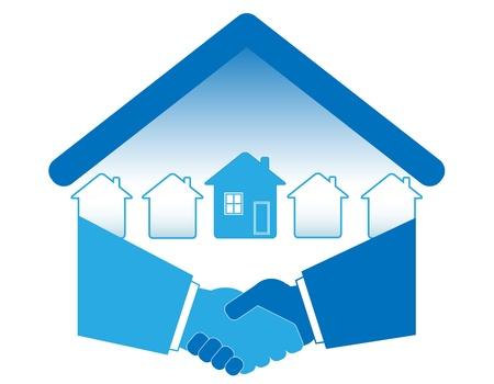 pacto: C�lido apret�n de manos y transacciones inmobiliarias con �xito. Vectores