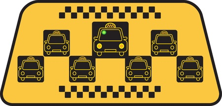 Taxi sign with few cars on yellow background Vector