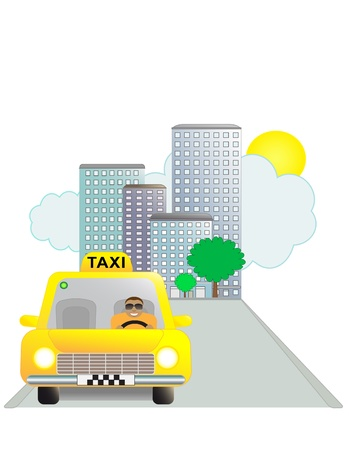 Funny taxi man on the on the road in city Vector