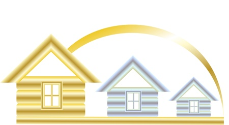 huis logo: Golden house and two silver on a white background under the sun Stock Illustratie