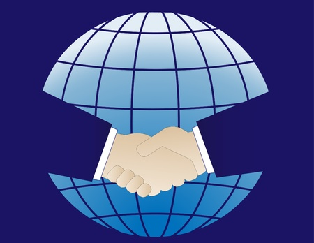 The planet Earth and two hands in business handshake