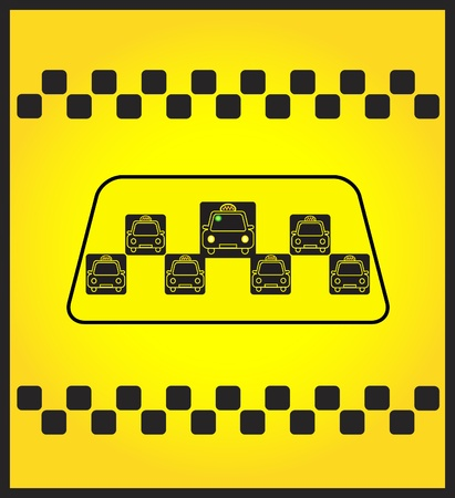Taxi sign on the rectangular yellow background Vector