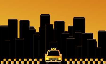 Night taxi in the city on the background of skyscrapers. Vector Illustration