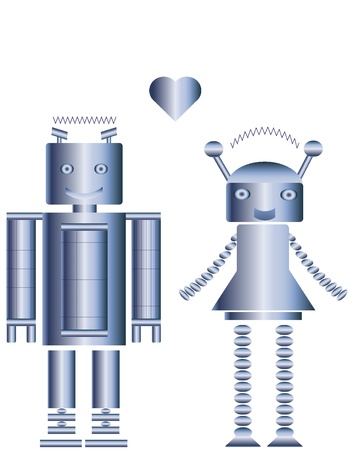 Two cute metal robots. Man and woman cartoon. Vector