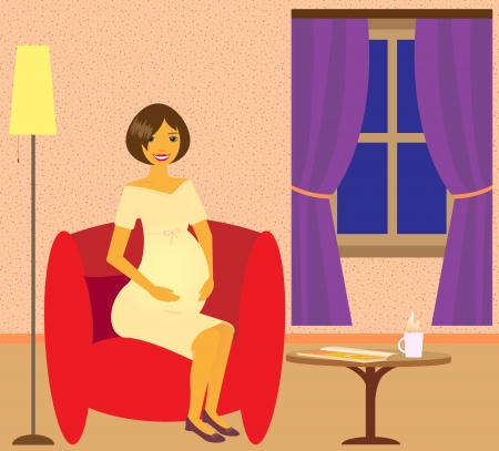 Beautiful happy pregnant woman in armchair dreams about child. Vector
