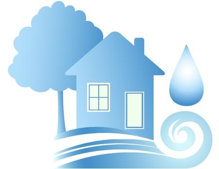 loodgieterswerk: Schoon ecologie huis, blauwe water en neerzetten