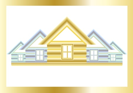 Golden and silver houses on a white background. Vector