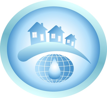 casa logo: Acqua pulita del pianeta, molte case e goccia Vettoriali