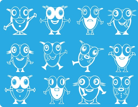 Lot of funny homunculuses on a blue background. Vector