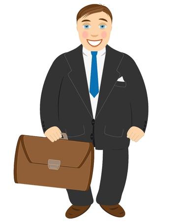 superintendent: Exitoso hombre de negocios en un traje negro y con una cartera en manos