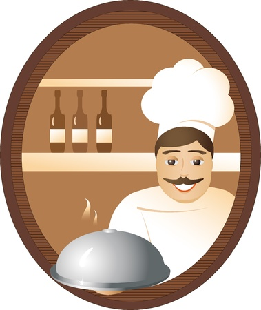 At restaurant, the cheerful cook offers hot a dish. Vector