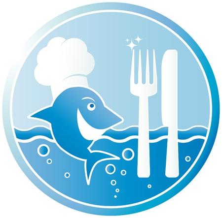 El cocinero de pescado. Una se�al en el restaurante de pescado