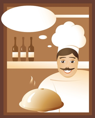Invitation from the chef in a restaurant for a delicious lunch. Vector