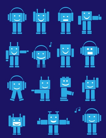 funny robot: Set of blue cute emotional robots. Cartoon