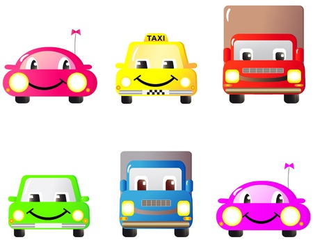 A set of colorful fun and cute cars and toys. Cartoon. Vector