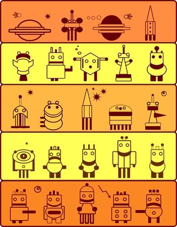 Set of robots inhabitants of the planet Mars. Cartoon. Vector