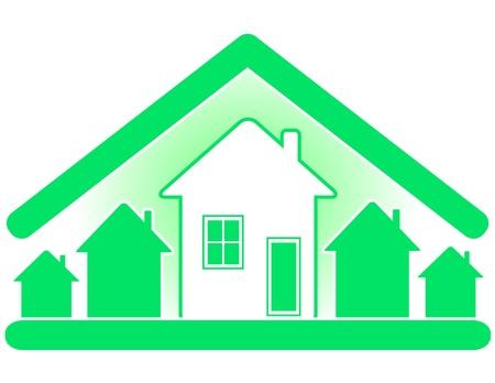 materiali edili: Costruzione e vendita di case con uso di materiali eco puri. Vettoriali