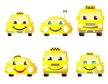 Conjunto horizontal de taxi m�quinas divertido lindo.