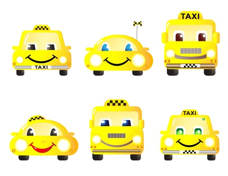 Horizontal set of cute funny machines taxi. Vector