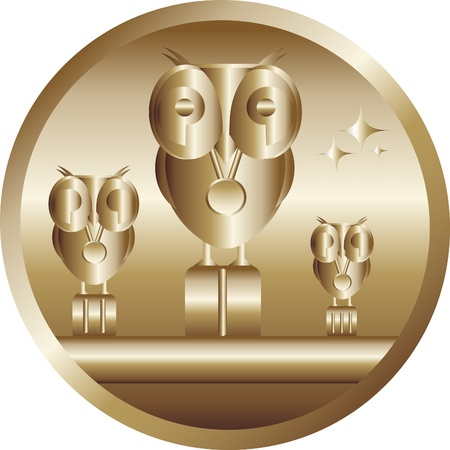 The first prize - an award winner. Golden owl, cartoon. Vector