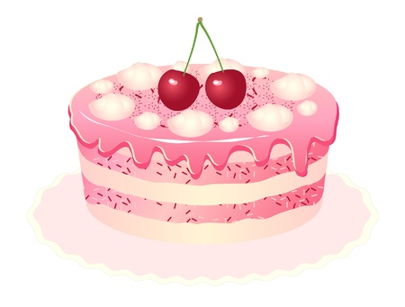 Pink delicious cake with cream, cherries and ice cream.
