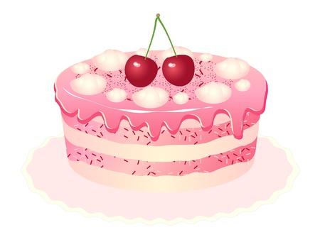 Rosa delicioso pastel con crema, cerezas y helado.