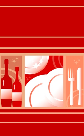 Red background for the restaurant menu. Food and drink