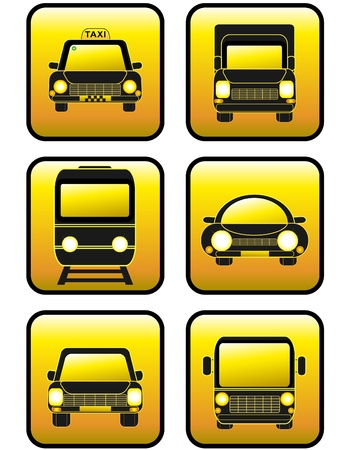 Set of icons cars and train. Collection of buttons. Vector