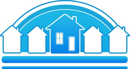 construction companies: blue sign real estate with many houses and sun silhouette Illustration
