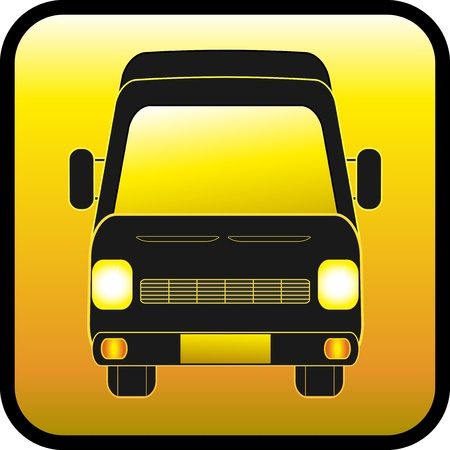 yellow glass button with mini bus silhouette Illustration