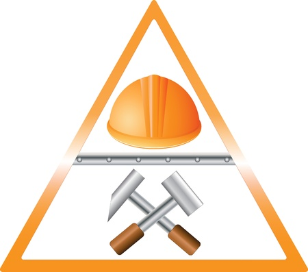 construction team: helmet with two hammers in triangular sign Illustration