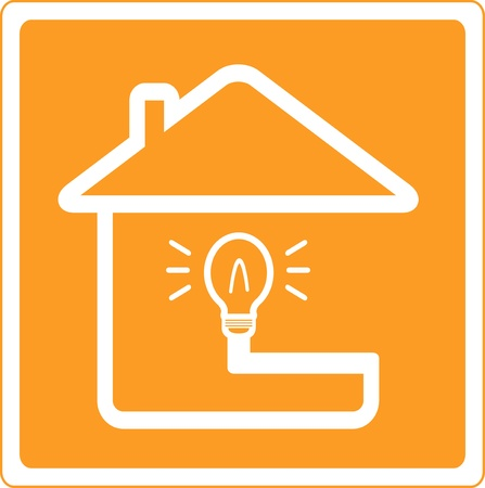 are current: silhouette of house and bulb symbol electrification