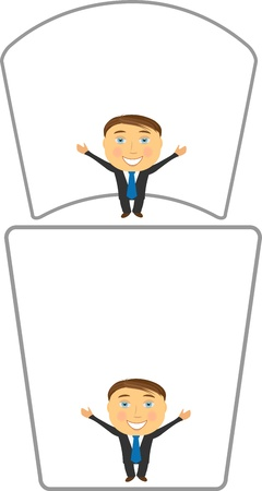 set cheerful cartoon businessman with white background Vector