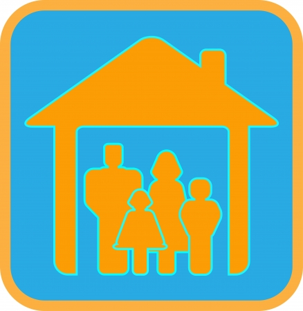 bright sign big worm family with house and family silhouette Vector