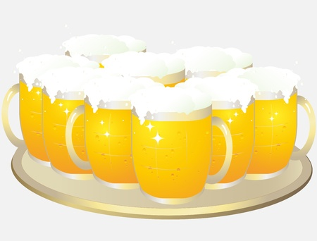 big tray with cartoon mugs of light beer Vector