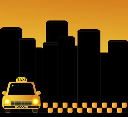 de fondo de taxi urbano con rascacielos