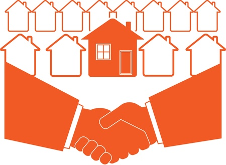 compact: successful business handshake symbol of real estate Illustration