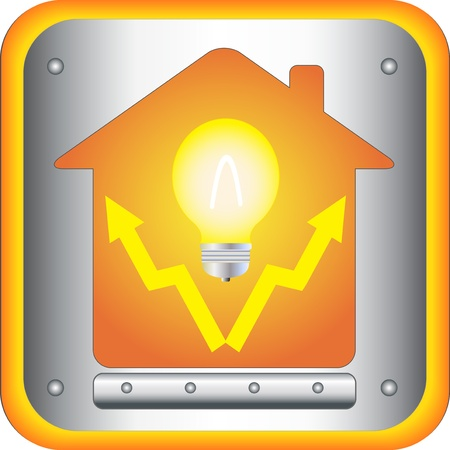 symbol of electrical with bulb and house in button Vector