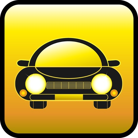 car show: glossy vector icon with black retro mobile