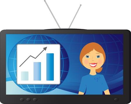 anchorman: good successful stock news and a beautiful woman TV presenter