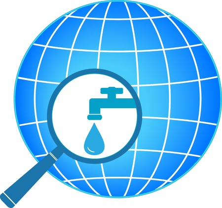 water sanitation: planet and magnifier with tap symbol of clean water