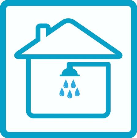 loodgieterswerk: blauwe symbool van badkamer met douche in huis Stock Illustratie