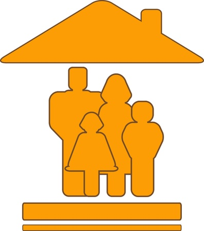 warm house: yellow vector sign with warm house and family silhouette